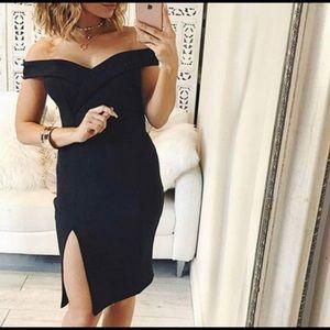 Dresses & Skirts - Sexy off shoulder split black dress size L